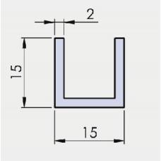 U - Profil 15/15/15/ 2 mm, glanzverchromt, l = 6000 mm