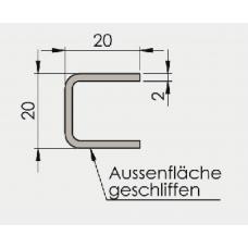 U - Profil 20/20/20/2 mm, Edelstahl, l = 3000 mm