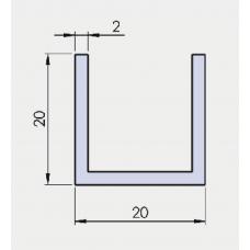 U - Profil 20/20/20/ 2 mm, glanzverchromt, l = 6000 mm