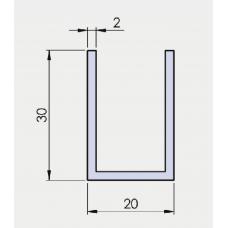 U - Profil 30/20/30/ 2 mm, in EV1 eloxiert, l = 6000 mm