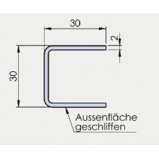 U - Profil 30/30/30/2 mm, Edelstahl, l = 3000 mm