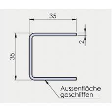 U - Profil 35/35/35/2 mm, Edelstahl, l = 3000 mm