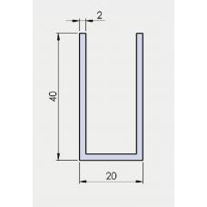 U - Profil 40/20/40/ 2 mm, in EV1 eloxiert, l = 6000 mm