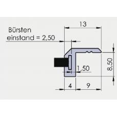 Bürsten L - Profil, EV1 eloxiert, Profillänge = 3000 mm