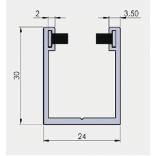 Bürsten U - Profil 30 / 24 / 30 mm, Alu Blank, für 8  mm Glas