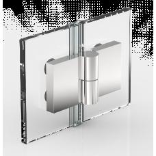 Anschlagtürband Nivello+, Glas-Glas 180°,  Edelstahloptik