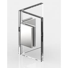 Winkelverbinder Glas - Glas 90°, mattverchromt